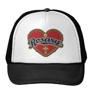 Rosary Heart Blue Logo on Red Background Mesh Hat