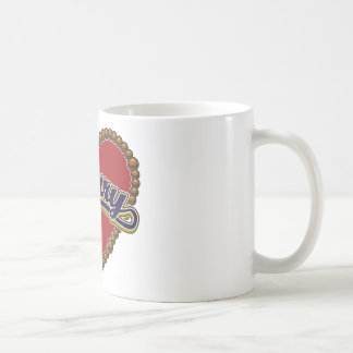 Rosary Heart Blue Logo on Red Background Coffee Mugs