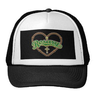 Rosary Heart Green Logo Hats