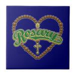 Rosary Heart Green Logo Tiles