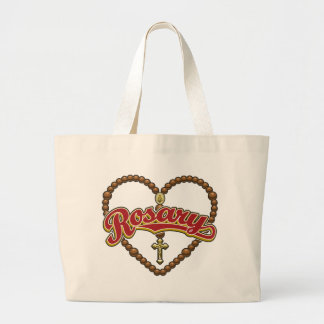 Rosary Heart Red Tote Bags