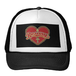 Rosary Heart Red Logo on Red Background Trucker Hat