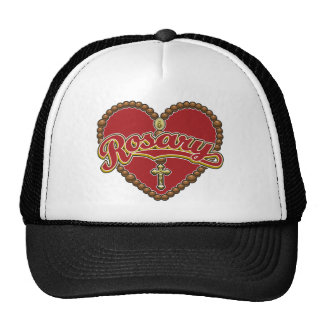 Rosary Heart Red Logo on Red Background Mesh Hat