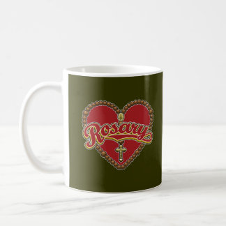 Rosary Heart Red Logo on Red Background Mugs