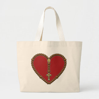 Rosary Heart Red No Logo Canvas Bags