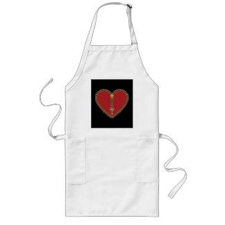 Rosary Heart Red No Logo Long Apron
