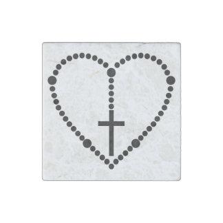 Rosary Heart Stone Magnet
