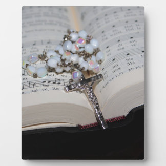 rosary music book plaque