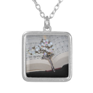 rosary music book silver plated necklace