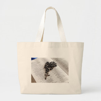 Rosary On Bible Canvas Bag