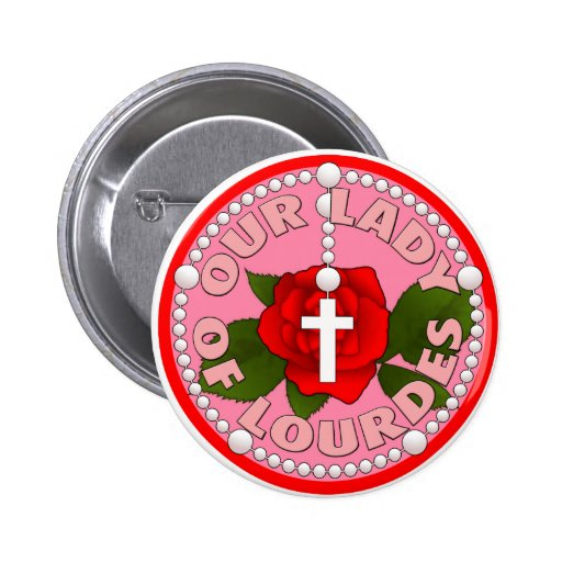 Rosary Our Lady of Lourdes 2 Inch Round Button