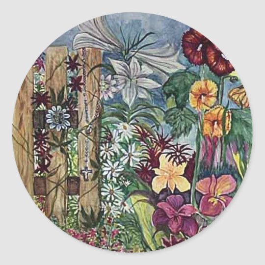 Rosary Prayer Garden Watercolor Classic Round Sticker