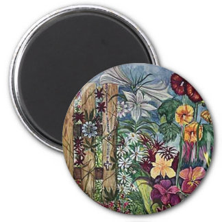Rosary Prayer Garden Watercolor 2 Inch Round Magnet