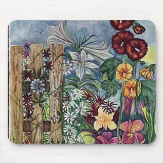 Rosary Prayer Garden Watercolor Mouse Pad