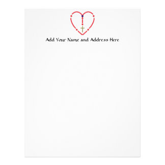 Rosary (Red and Blue Roses) Letterhead Template