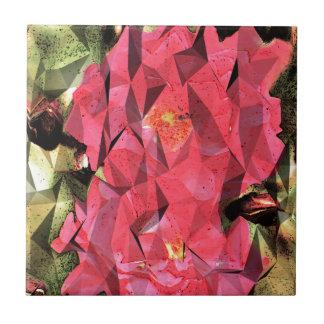 Rosas abstractos cubistas azulejo cuadrado pequeño