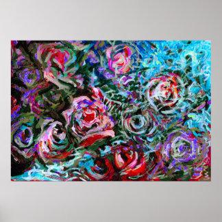 Rosas abstractos en el rojo y la turquesa - impres póster