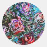 Rosas abstractos en el rojo y la turquesa - etiquetas redondas