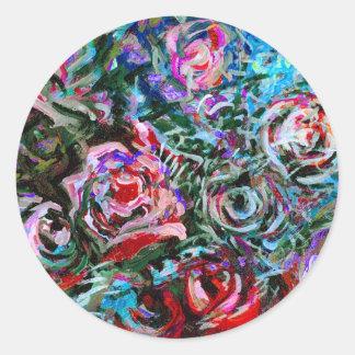Rosas abstractos en el rojo y la turquesa - pegatina redonda