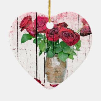 Rosas Adorno Navideño De Cerámica En Forma De Corazón
