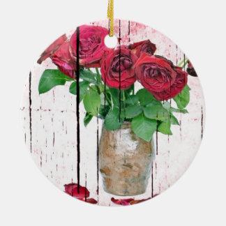 Rosas Adorno Navideño Redondo De Cerámica