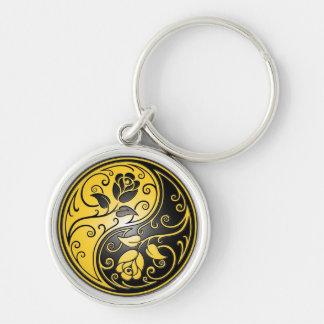 Rosas, amarillo y negro de Yin Yang Llavero Redondo Plateado