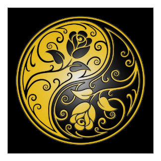 Rosas, amarillo y negro de Yin Yang Póster