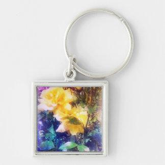 Rosas amarillos brillantes llavero personalizado