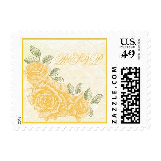 Rosas amarillos del vintage que casan el sello de