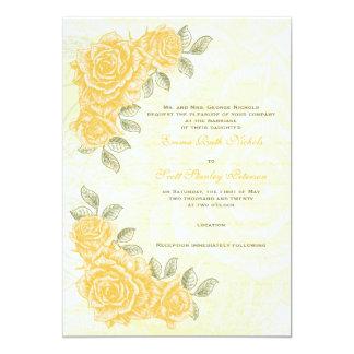 Rosas amarillos del vintage que casan la invitación 12,7 x 17,8 cm
