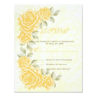 Rosas amarillos del vintage que casan la tarjeta invitación 10,8 x 13,9 cm