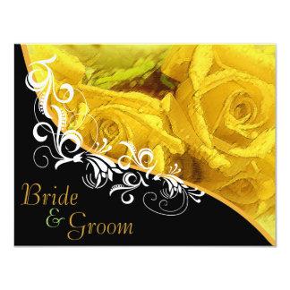 """Rosas amarillos - el casarse echado a un lado 2 invitación 4.25"""" x 5.5"""""""