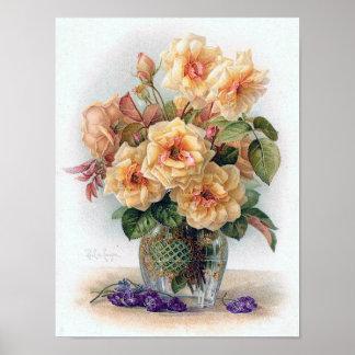 Rosas amarillos elegantes en una impresión de cris poster