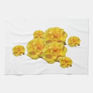 Rosas amarillos en la floración toallas de cocina