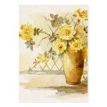 Rosas amarillos en un florero de la cerámica tarjetas de visita grandes