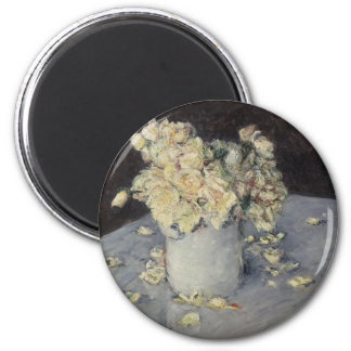 Rosas amarillos en un florero imán redondo 5 cm