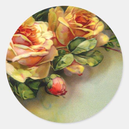 Rosas amarillos etiquetas redondas