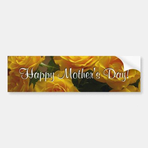 Rosas amarillos felices del día de madre pegatina de parachoque