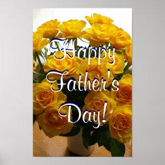 Rosas amarillos felices del día de padre póster