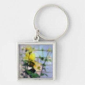 Rosas amarillos llavero cuadrado plateado