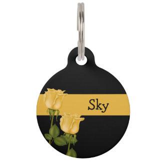 Rosas amarillos placa de mascota