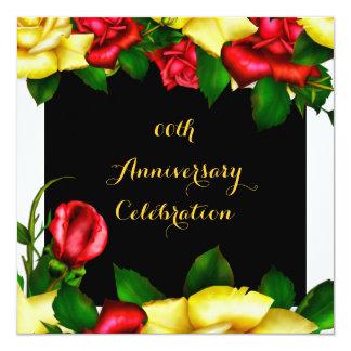 Rosas amarillos rojos 3 de la fiesta de invitación 13,3 cm x 13,3cm