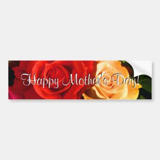 Rosas amarillos rojos felices del día de madre pegatina de parachoque