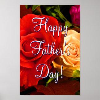 Rosas amarillos rojos felices del día de padre póster