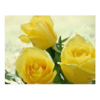 Rosas amarillos tarjetas postales