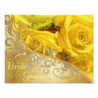 """Rosas amarillos y oro - el casarse echado a un invitación 4.25"""" x 5.5"""""""