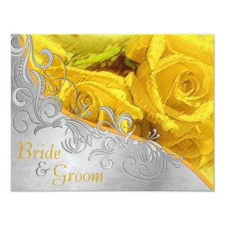 """Rosas amarillos y plata - el boda lateral 2 planos invitación 4.25"""" x 5.5"""""""