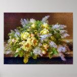 Rosas amarillos y poster de las lilas