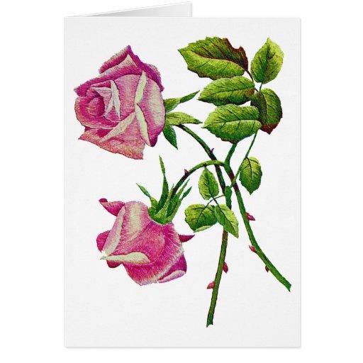 Rosas americanos rosados de la belleza en bordado tarjeta de felicitación