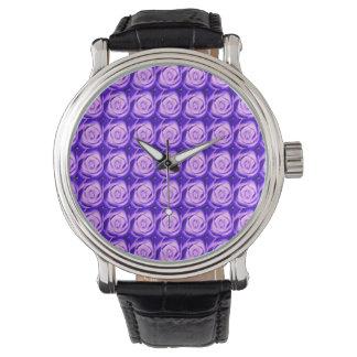 Rosas Amethyst púrpuras de la lavanda deliciosa Reloj